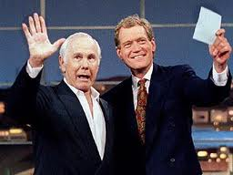 Johnny Carson, left, and David Letterman.